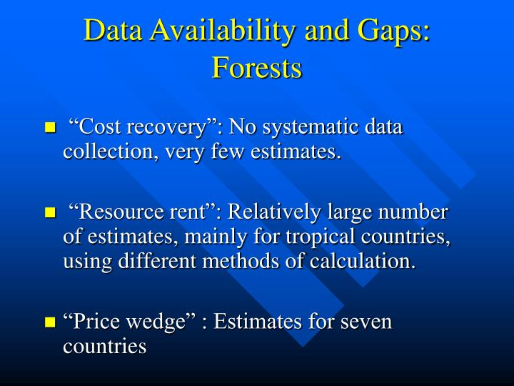 Data Availability and Gaps: