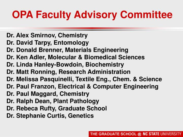 OPA Faculty Advisory Committee