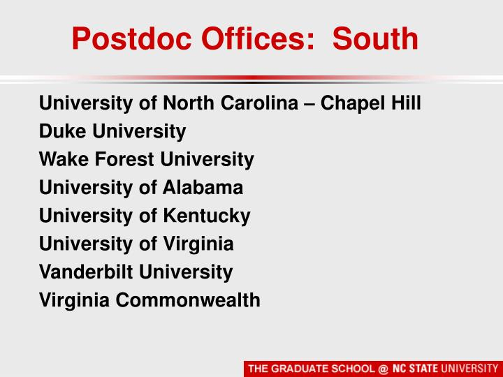 Postdoc Offices:  South
