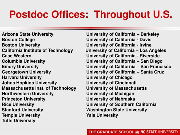 Postdoc Offices:  Throughout U.S.