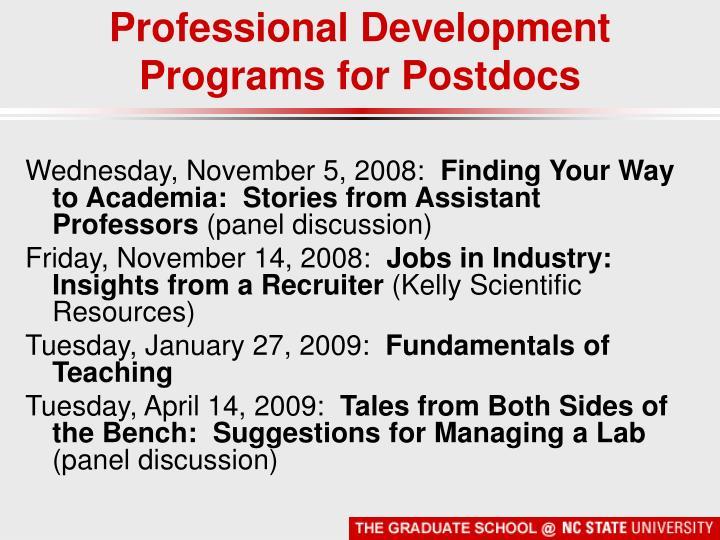 Professional Development Programs for Postdocs