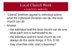 local church work a search for authority