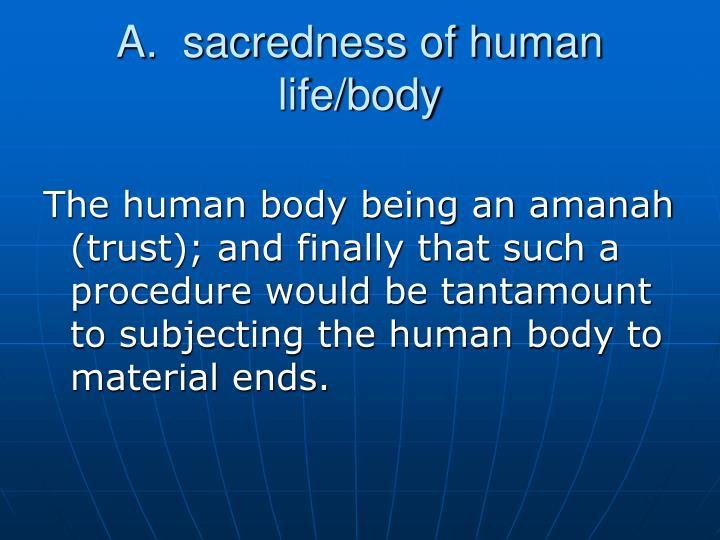 A.  sacredness of human life/body