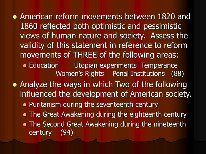 american reform movement 1820 1860 utopian society