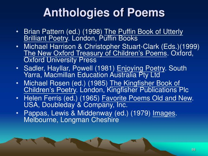 Anthologies of Poems