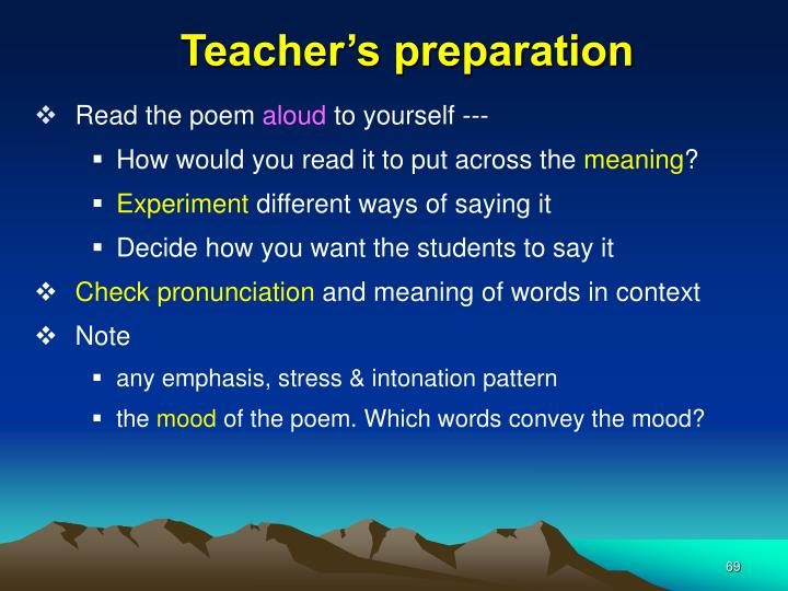 Teacher's preparation