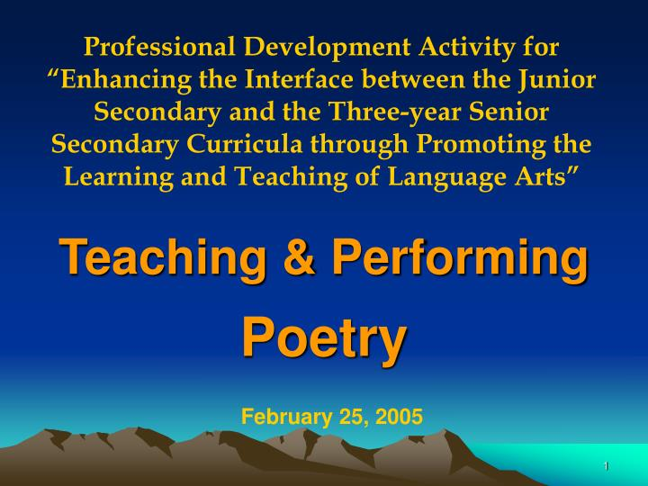 Teaching performing poetry