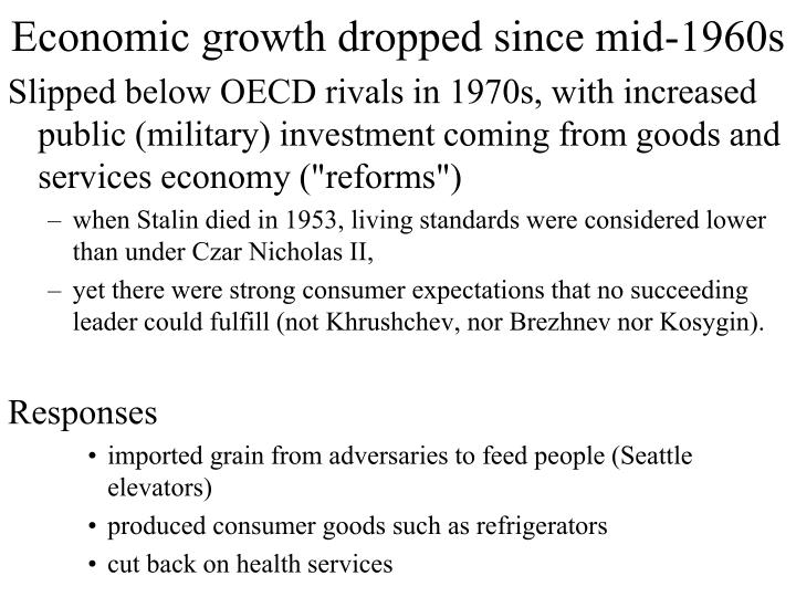 Economic growth dropped since mid-1960s