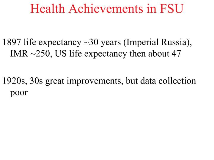 Health Achievements in FSU