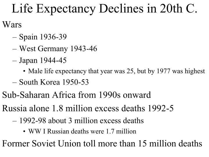 Life Expectancy Declines in 20th C.