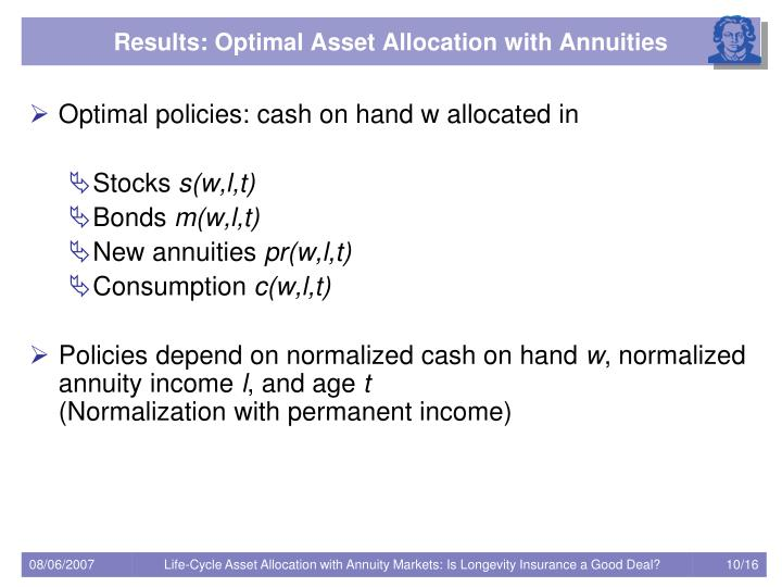 Results: Optimal Asset Allocation with Annuities