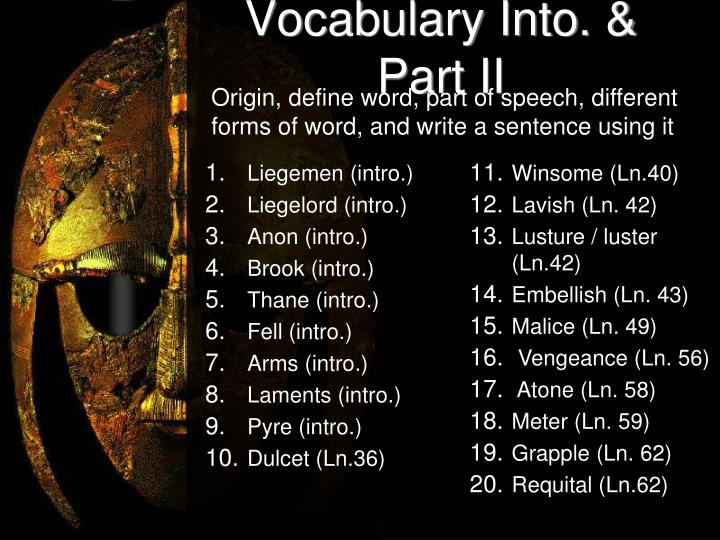 Vocabulary Into. & Part II