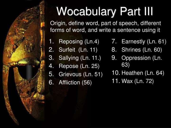 Wocabulary Part III