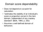 domain score dependability
