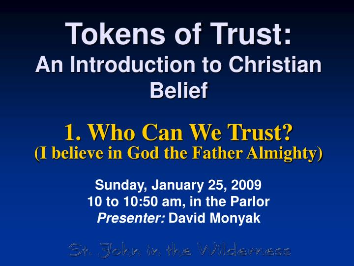tokens of trust an introduction to christian belief n.