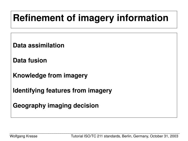 Refinement of imagery information