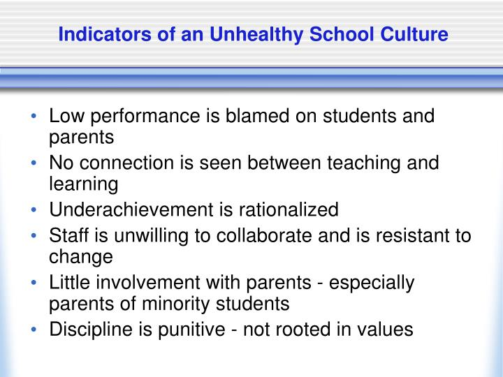 Indicators of an Unhealthy School Culture