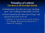 theodicy of leibniz the best of all possible worlds