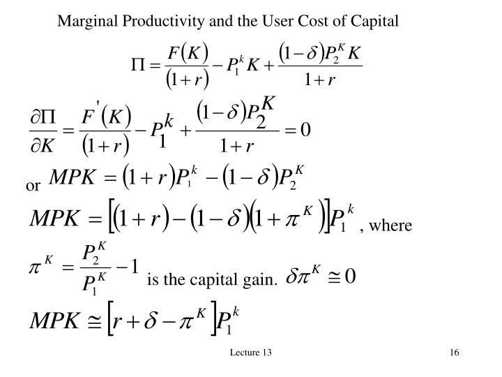 Marginal Productivity and the User Cost of Capital