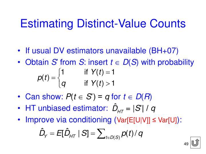 Estimating Distinct-Value Counts
