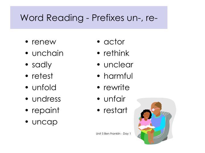 Word Reading - Prefixes un-, re-