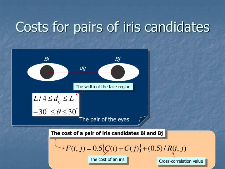 Costs for pairs of iris candidates