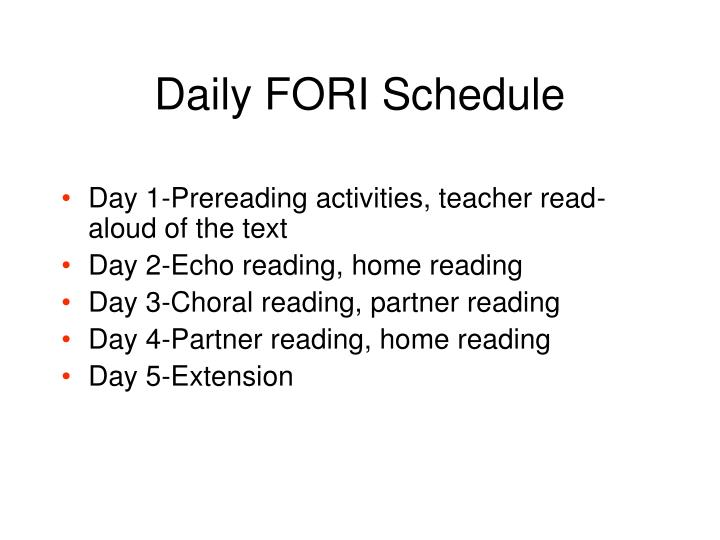 Daily FORI Schedule