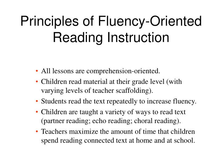 Principles of Fluency-Oriented Reading Instruction