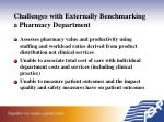 challenges with externally benchmarking a pharmacy department