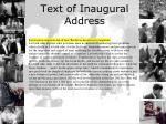 text of inaugural address1