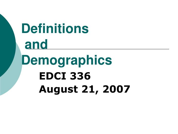 definitions and demographics n.
