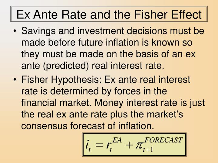Ex Ante Rate and the Fisher Effect