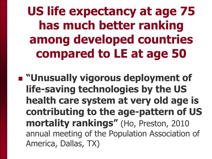 US life expectancy at age 75 has much better ranking among developed countries compared to LE at age 50