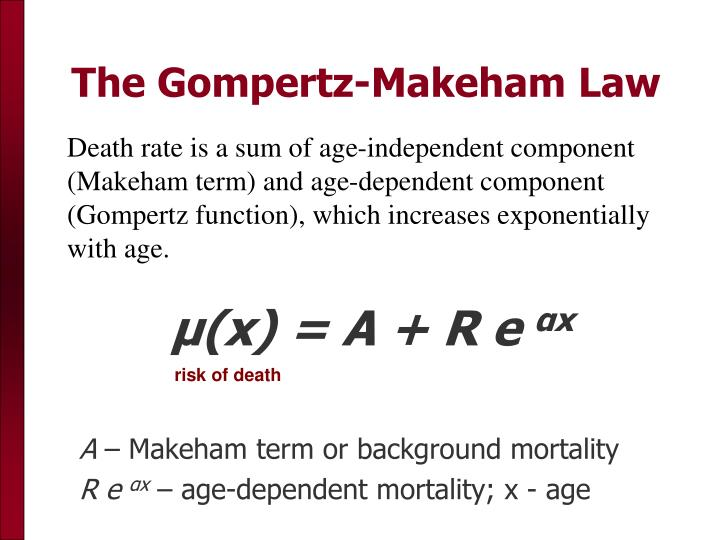 Death rate is a sum of age-independent component (Makeham term) and age-dependent component (Gompertz function), which increases exponentially with age.