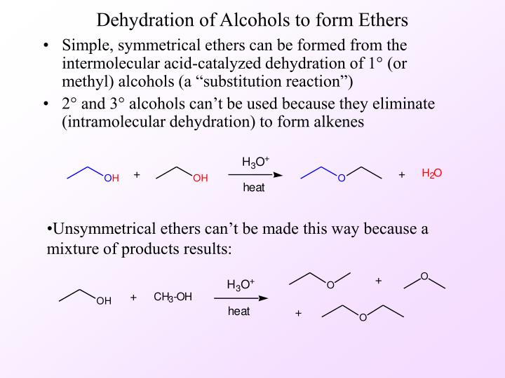 dehydration of alcohols to form ethers n.