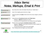 inbox items notes markups email print
