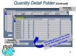 quantity detail folder continued