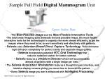 sample full field digital mammogram unit