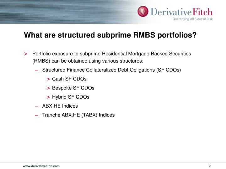 What are structured subprime rmbs portfolios