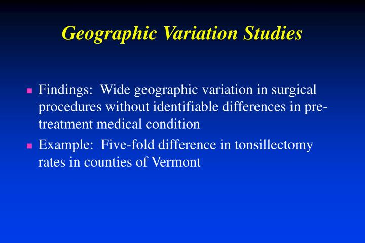 Geographic Variation Studies