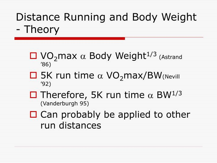 Distance Running and Body Weight - Theory
