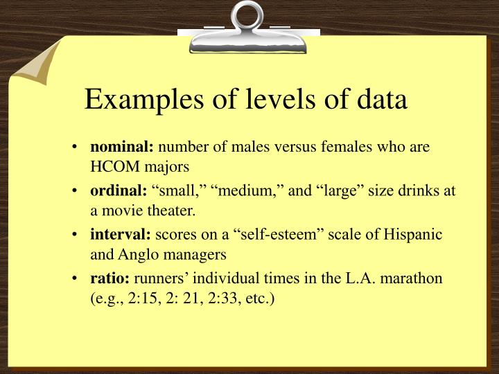 Examples of levels of data