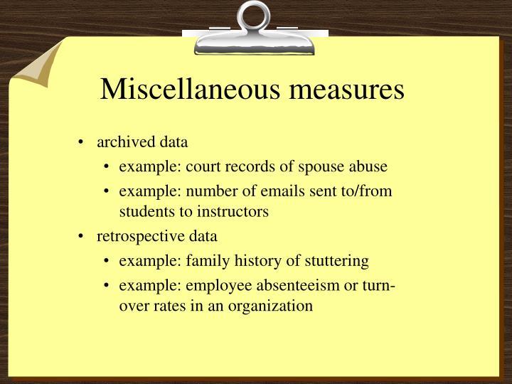 Miscellaneous measures