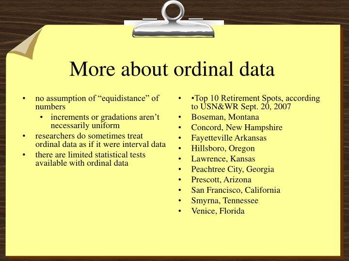 "no assumption of ""equidistance"" of numbers"