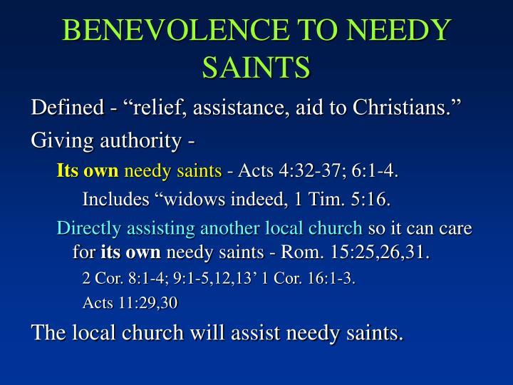 BENEVOLENCE TO NEEDY SAINTS