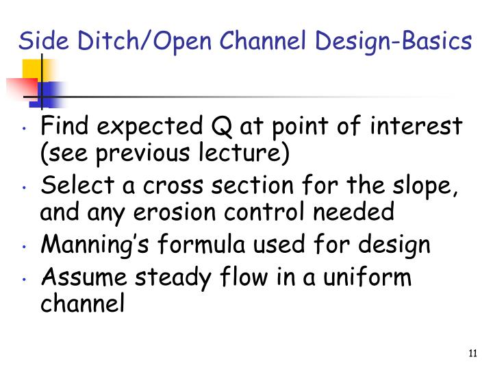 Side Ditch/Open Channel Design-Basics
