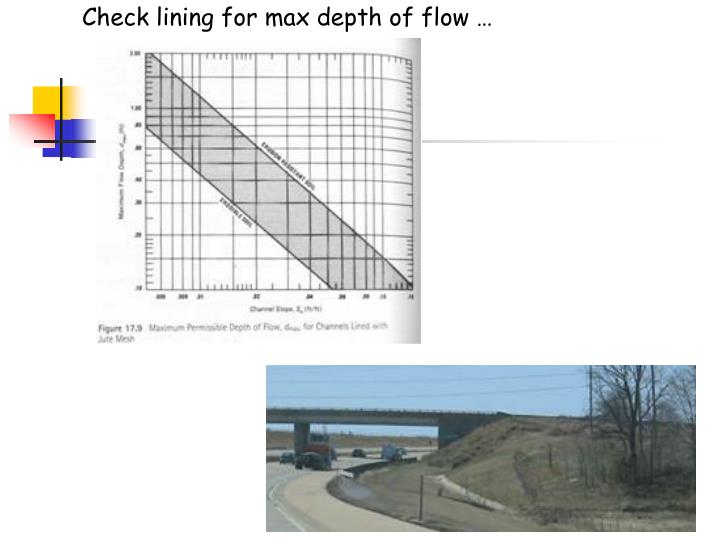 Check lining for max depth of flow …