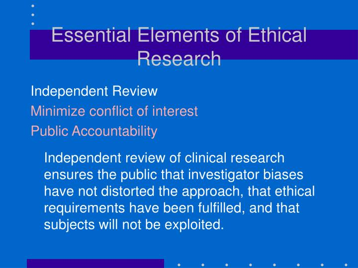 Essential Elements of Ethical Research