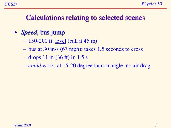 Calculations relating to selected scenes