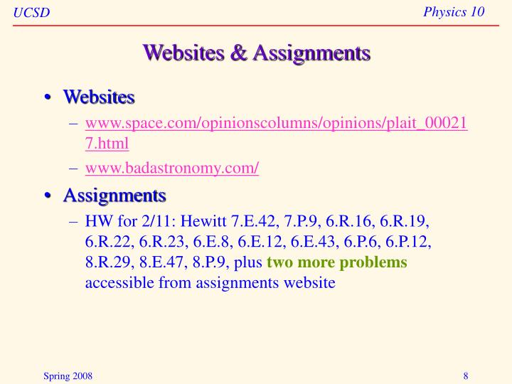 Websites & Assignments